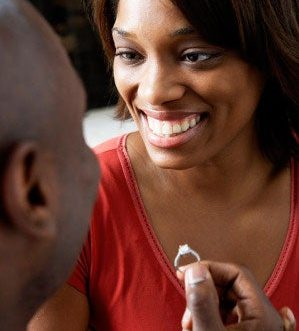 black man proposing to black woman with a ring